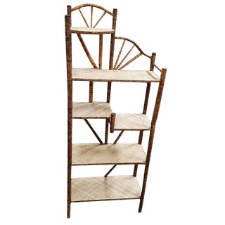 Restored Tiger Bamboo Five-Tier Shelf, Aesthetic Movement For Sale