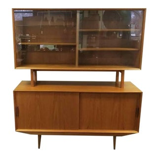 Mid-Century Teak Sideboard Buffet Hutch China Cabinet Credenza - 2 Pieces For Sale