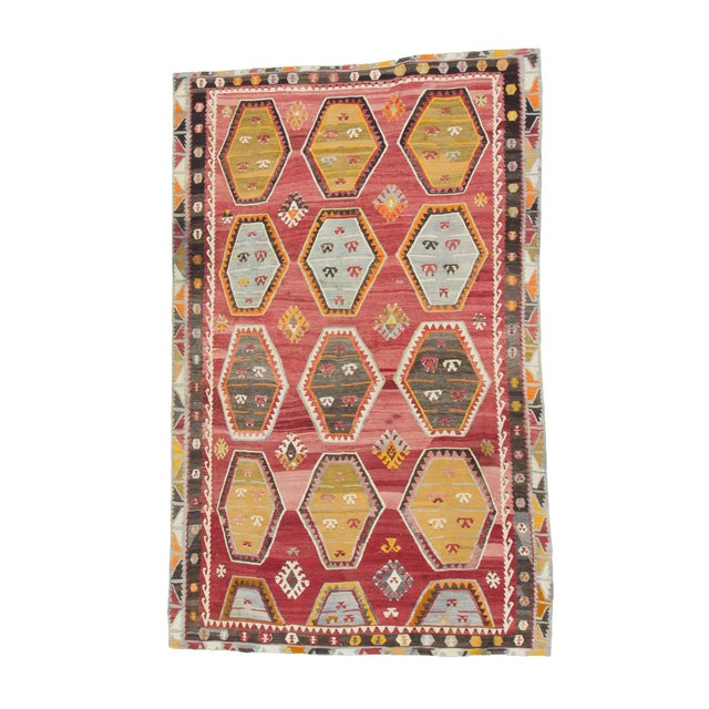 Textile 1960s Vintage Turkish Sivas Wool Kilim Rug- 7′6″ × 11′9″ For Sale - Image 7 of 7