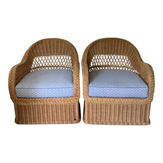 Pair of Henry Link Vintage Rattan and Wicker With Galbraith & Paul Linen Chairs For Sale