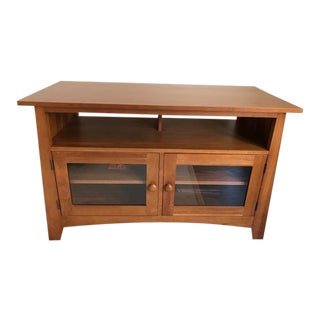 Transitional Ethan Allen Cinnamon Finish Media Cabinet For Sale