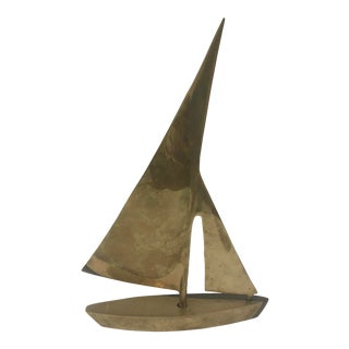 1960s Brass Sail Boat Table Top Decoration For Sale