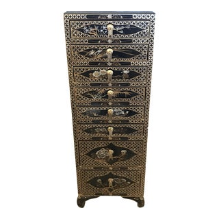 Black Lacquer Chinoiserie Jewelry Chest