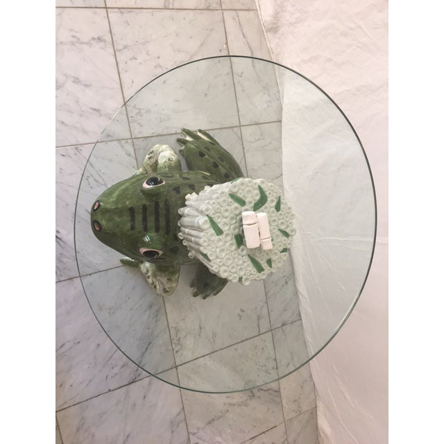 Italian Ceramic Glass Top Frog Table For Sale - Image 4 of 7