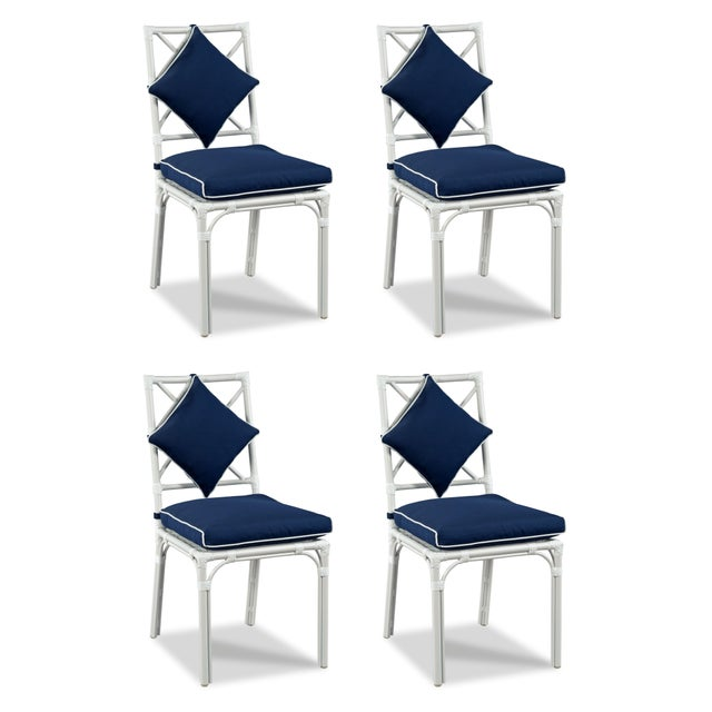 Casa Cosima Home Haven Outdoor Dining Chair, Canvas Navy with Canvas White Welt, Set of Four For Sale - Image 4 of 4