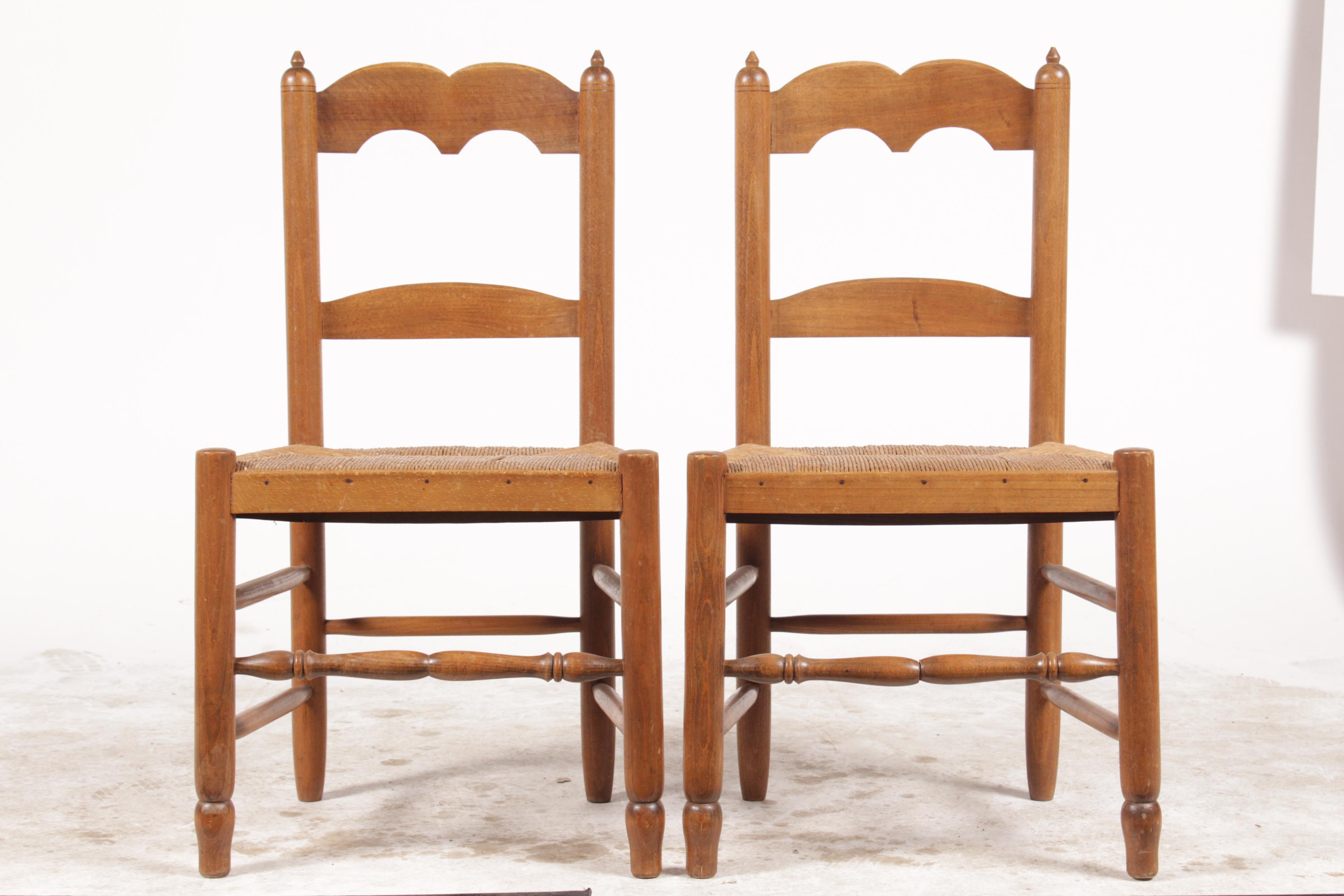 Delightful Pair Of Petite French Country Style Chairs Featuring Double Arch Splat  Backs, Finials And
