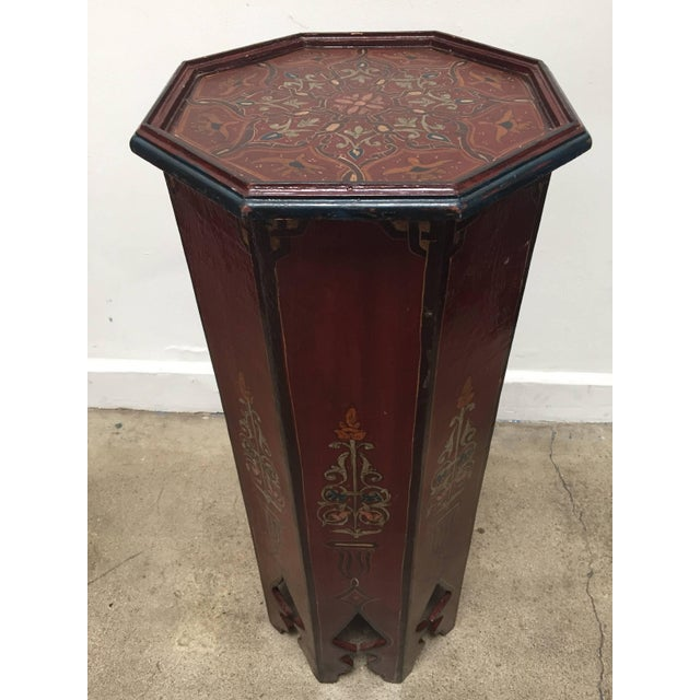 Hand-Painted Moroccan Pedestal Table For Sale - Image 4 of 13