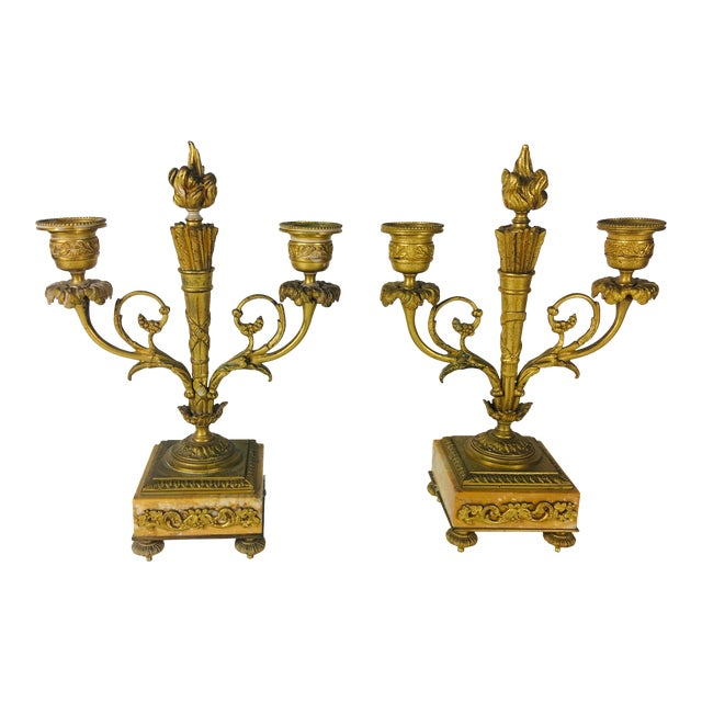 19th Century French Empire Candle Sticks – a Pair For Sale