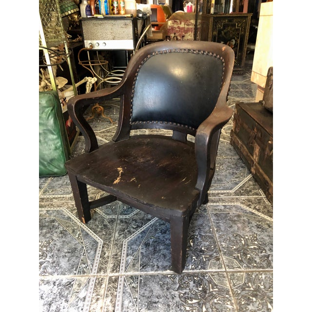 1940s Vintage Stout and Wide Wood and Leather Studded Bowed Back Reading Chair For Sale - Image 12 of 12