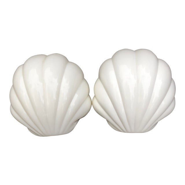 1970s Plastic Scalloped White Clam Shell Art Deco Wall Sconces - a Pair For Sale