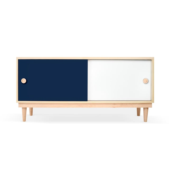 Modern Nico & Yeye Luke Modern Kids Credenza Console Solid Maple and Maple Veneers Deep Blue For Sale - Image 3 of 3