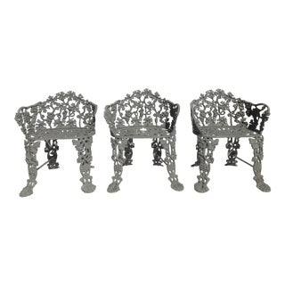 19th Century Victorian Cast Iron Garden Chairs - Set of 3 For Sale