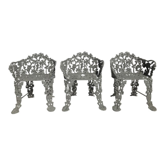 19th Century Victorian Cast Iron Garden Chairs Set Of 3 For