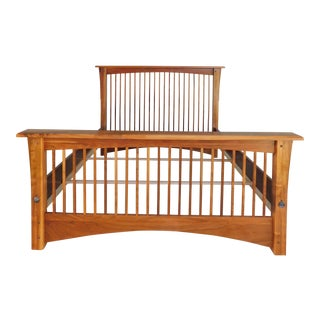 Custom Black Walnut Arts & Crafts Mission Style Queen Size Bed For Sale