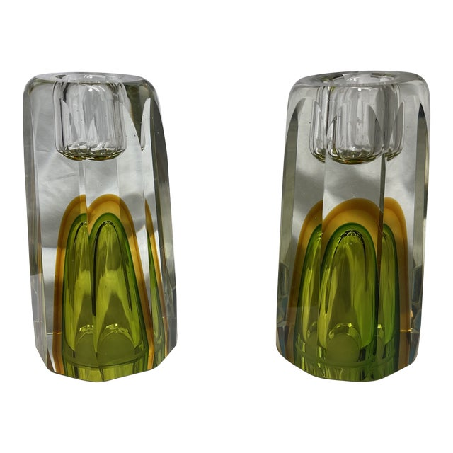 1970s Cased Glass Candle Sticks Pair For Sale