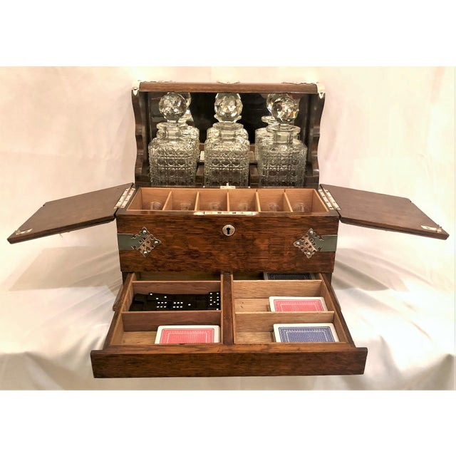 English Antique English Golden Oak Games Box Tantalus, Circa 1880. For Sale - Image 3 of 6