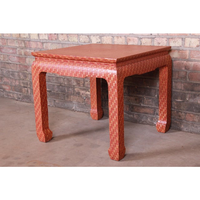 Baker Furniture Mid-Century Hollywood Regency Red Lacquered Grass Cloth Side Table For Sale - Image 12 of 12