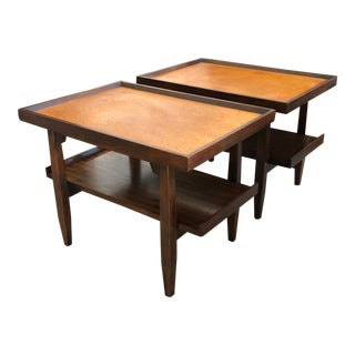 Milo Baughman for Drexel End Tables With Cork Tops - a Pair For Sale