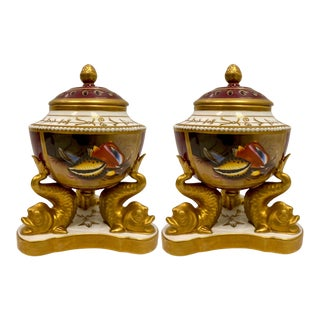 Vintage Chelsea House Grotto Style Porcelain Urns -A Pair For Sale