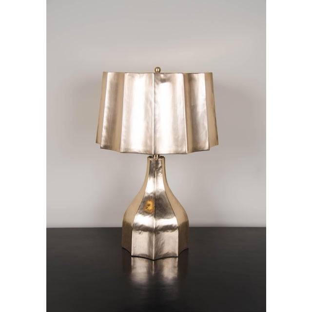 Contemporary Faceted Lamp and Shade - Gold Plate For Sale - Image 3 of 4