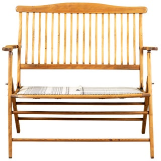 Antique Folding Bench With Injiri Organic Cotton Upholstery For Sale