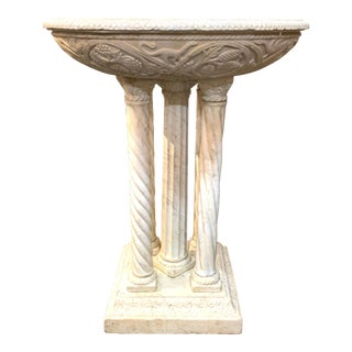 19th Century Italian Hand Carved Carrara Marble Fountain For Sale