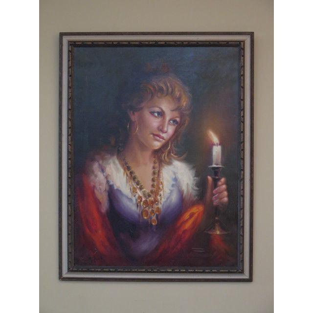 Oil Paint 1960s Vintage Italian Portrait of Woman Framed Oil on Canvas Painting For Sale - Image 7 of 7