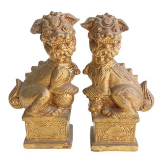 Pair of 1960s Aged Gold Foo Dogs