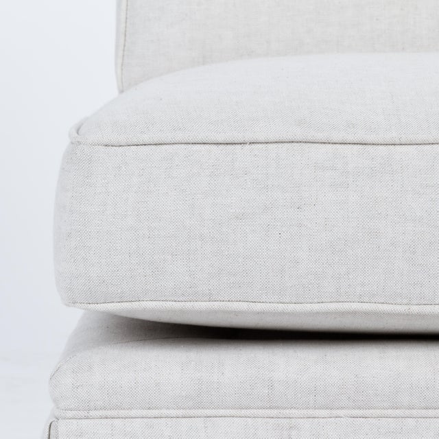 White Casa Cosima Skirted Slipper Chair in Oatmeal Linen, a Pair For Sale - Image 8 of 9