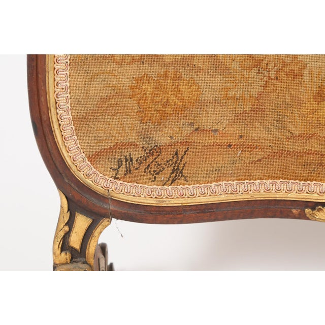 Late 19th Century Antique French Needlepoint and Parcel Giltwood Fire Screen For Sale - Image 5 of 12