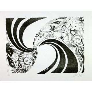 Modern Black and White Abstract Spiral For Sale
