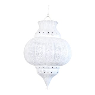 Vintage used moroccan pendant lighting chairish moroccan white painted metal hanging lamp aloadofball Gallery