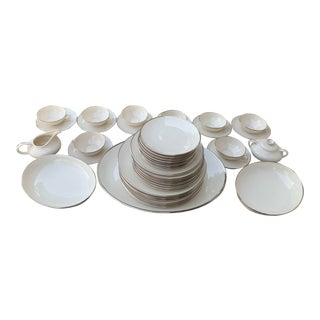 1950s Franciscan Platinum Band China Serving Set - Set of 45 For Sale