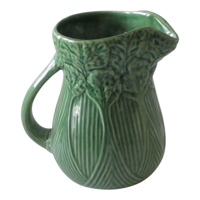 Vintage Celery Green Pitcher Handcrafted in Portugal For Sale