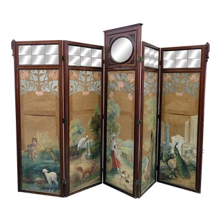 Aesthetic Victorian 4 Panel Screen For Sale
