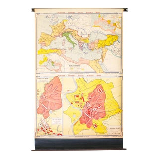 Industrial Pull Down Map of Rome Italy / Roman Empire, For Sale