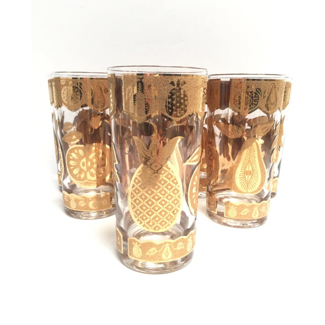 Mid-Century Culver 22k Gold Fruit Tumblers - Set of 8 For Sale In Austin - Image 6 of 7