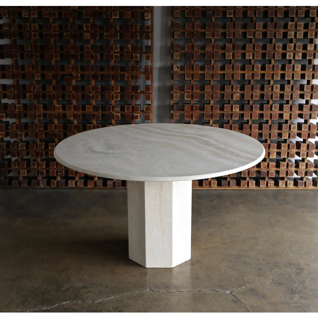 Angelo Mangiarotti 1980s Modern Style Travertine Centre Table For Sale - Image 4 of 9