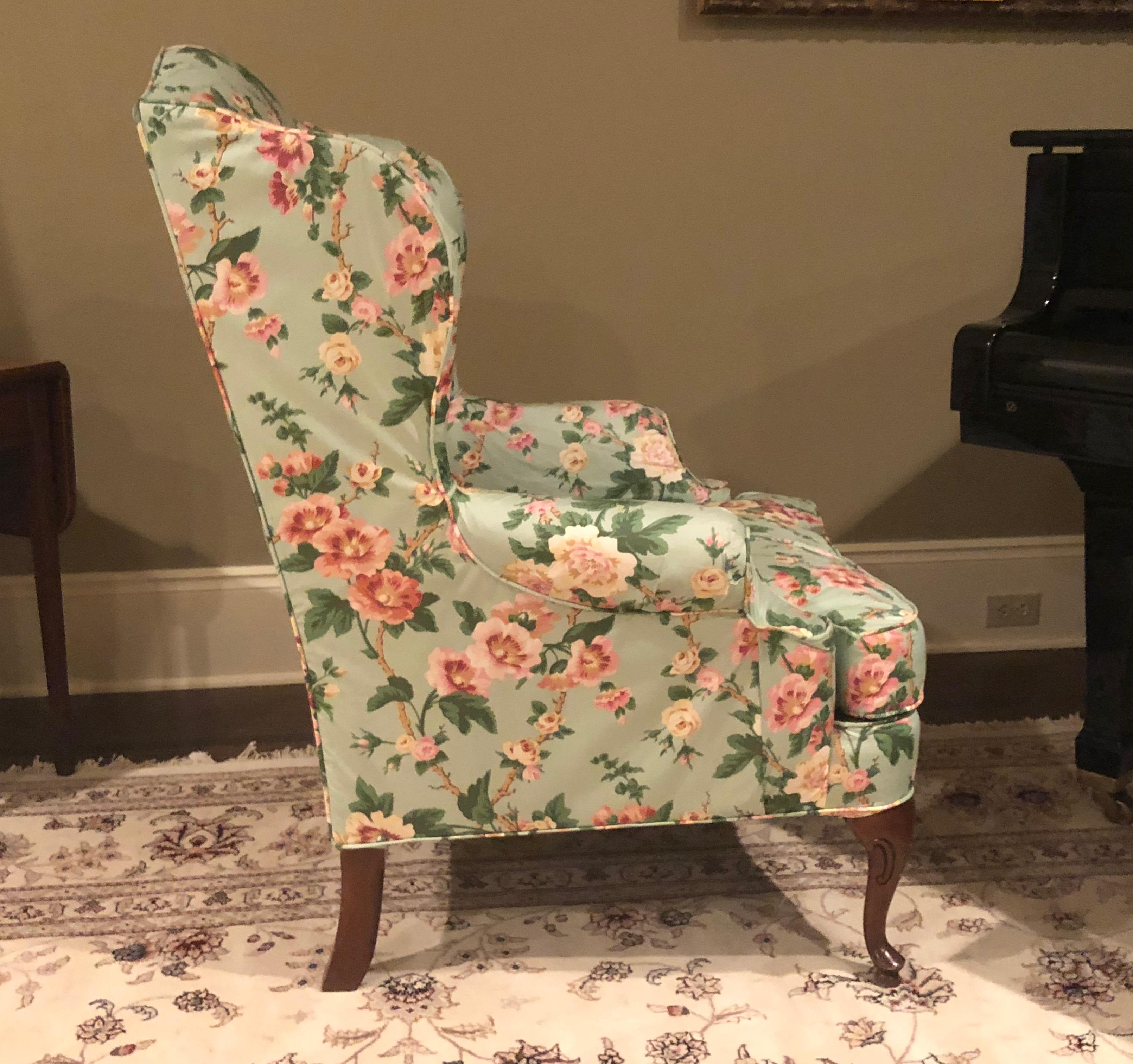 Vintage Floral Wingback Chair   Image 2 Of 6