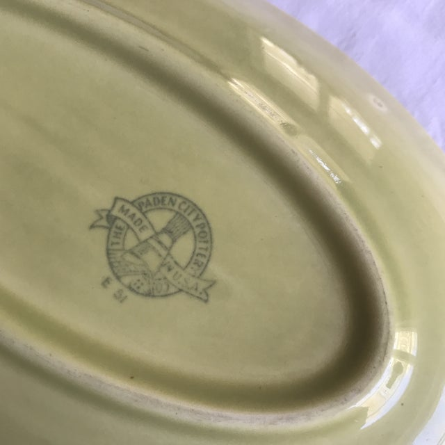 1950s 1951 Paden City Pottery Chartreuse Platter For Sale - Image 5 of 7