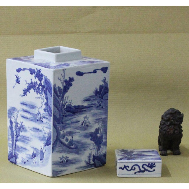 Asian Sarreid LTD Chinoiserie Blue & White Jar For Sale - Image 3 of 3