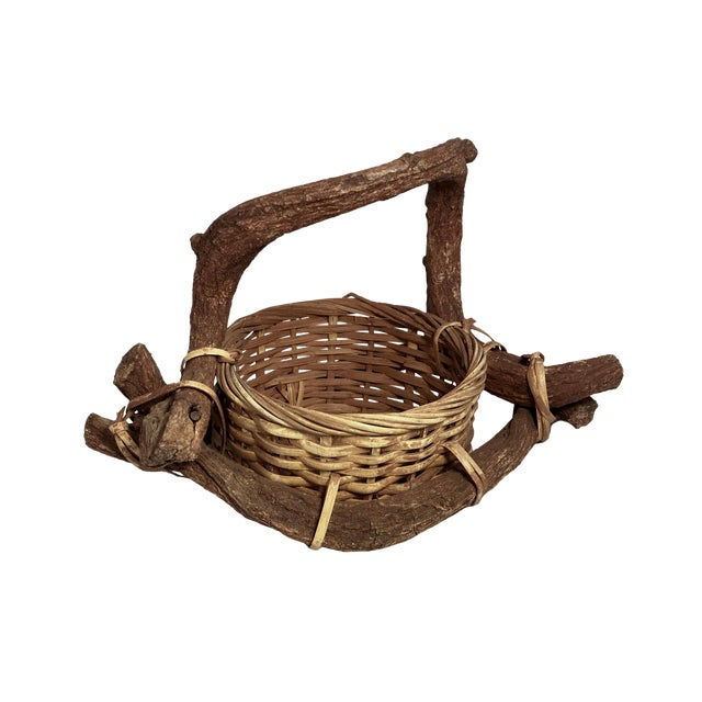 Antique Folk Art Vine Basket Collectors Art Piece For Sale