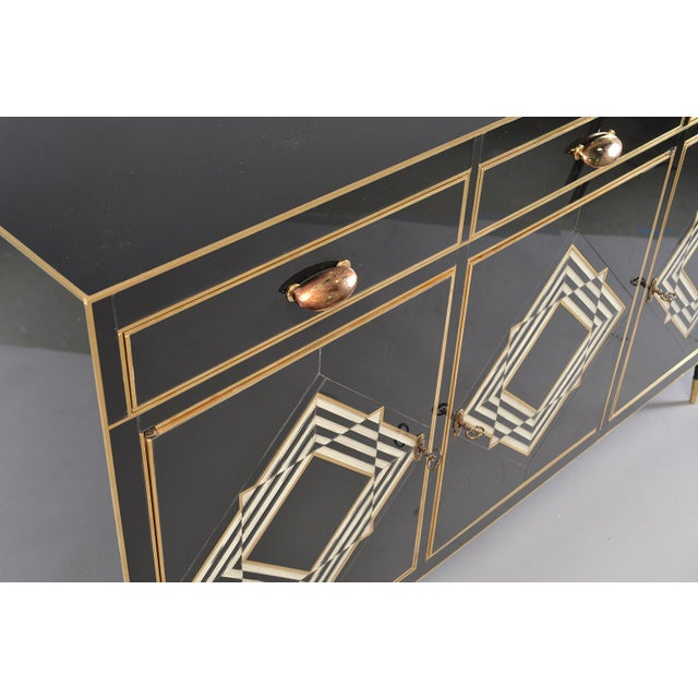 Op Art Murano Black and White Glass Clad Chest of Drawers With Brass Hardware For Sale In Detroit - Image 6 of 13