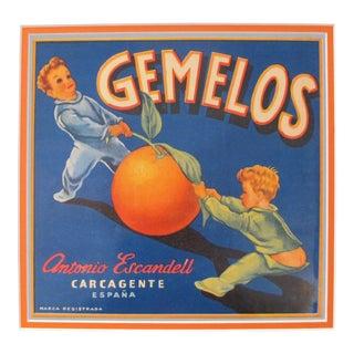 1920's Original Vintage Spanish Fruit Crate Label - Gemelos - Antonio Escndell Carcagente - Espana For Sale