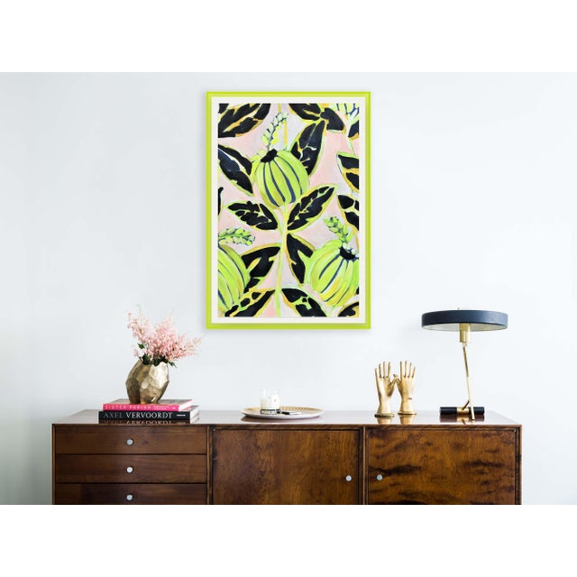 Coco Plum by Lulu DK in Neon Green Acrylic Shadowbox, Medium Art Print Overall Size: 24.5x36. Image Size: 22.5x34....