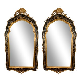 Chinoiserie Gold Gilt and Black Asian Style Mirror - a Pair For Sale