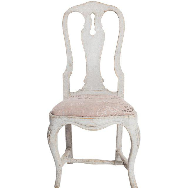 Antique White Swedish Baroque Set of Six Dining Chairs For Sale In New York - Image 6 of 7