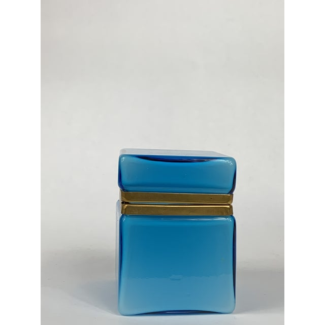 Murano Early 20th Century Turquoise Murano Casket Box For Sale - Image 4 of 9