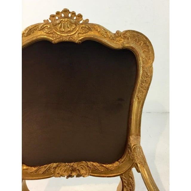 Vintage Italian Gold Gilt and Chocolate Velvet Carved Wood Arm Chairs - a Pair For Sale - Image 4 of 7