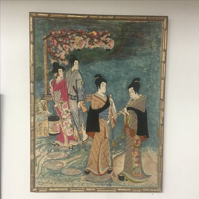 Asian Watercolor & Needlepoint Artwork - Image 2 of 8